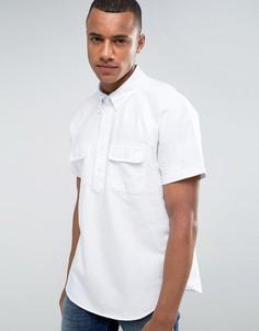 Свободная белая рубашка с короткими рукавами Abercrombie & Fitch - Темно-синий