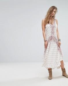 Платье-комбинация с принтом Free People Faithfully Yours - Бежевый