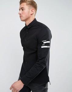 Приталенная рубашка с принтом Jack & Jones - Черный