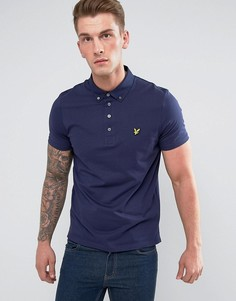 Темно-синяя футболка-поло с тканым воротником Lyle & Scott - Темно-синий