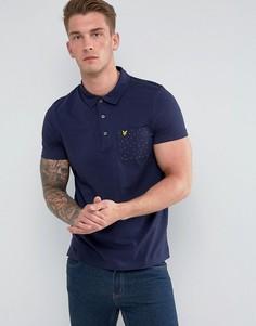 Темно-синяя футболка-поло с принтом в горошек на кармане Lyle & Scott - Темно-синий