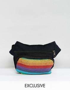 Сумка-кошелек на пояс с разноцветными полосками Reclaimed Vintage Inspired - Черный
