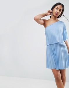 Плиссированное платье мини на одно плечо ASOS - Синий