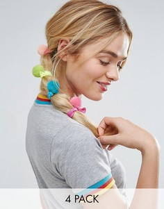 4 резинки для волос с помпонами ASOS - Мульти