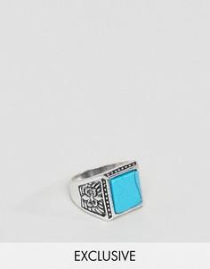Кольцо с бирюзовым камнем Reclaimed Vintage Inspired - Серебряный