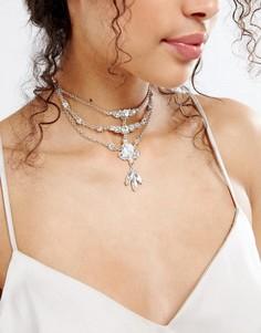 Броское ожерелье-чокер в несколько рядов с кристаллами ASOS - Прозрачный