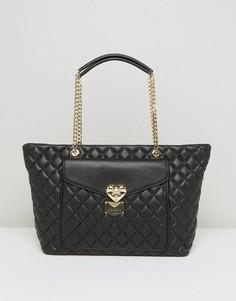 Стеганая сумка-тоут с карманом Love Moschino - Черный