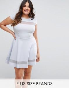 Короткое приталенное платье с короткими рукавами и сетчатыми вставками Club L Plus - Синий