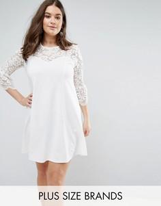 Короткое приталенное платье с кружевными рукавами Praslin - Кремовый