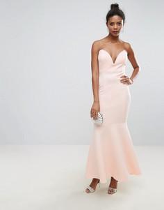 Платье-бандо макси с глубоким вырезом Club L - Розовый