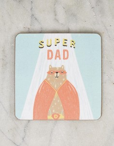 Подставка под напитки с надписью Super Dad Ohh Deer - Мульти