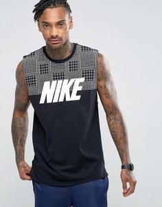 Черная майка с большим логотипом Nike 15 847648-010 - Черный