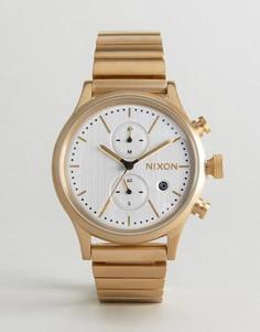 Золотистые часы с хронографом Nixon Station - Золотой