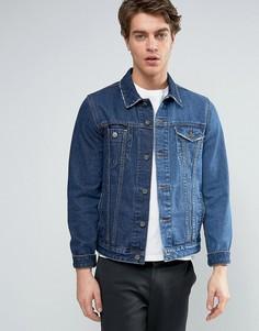 Синяя джинсовая куртка с контрастной отделкой ASOS - Синий