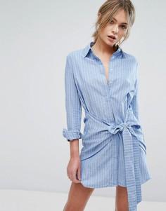 Платье-рубашка с поясом Unique21 - Синий