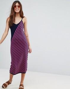 Вязаное платье в полоску ASOS - Мульти