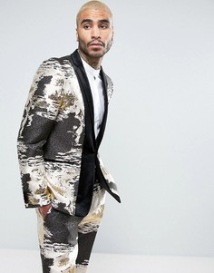 Облегающий жаккардовый пиджак-смокинг цвета металлик с бархатной отделкой ASOS - Золотой