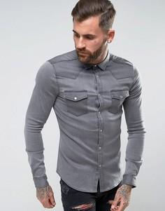 Серая джинсовая облегающая рубашка в стиле вестерн ASOS - Серый