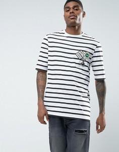 Длинная футболка в полоску с аппликацией ASOS - Белый