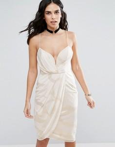 Вечернее платье с запахом Free People - Розовый