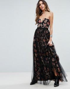 Бальное платье макси с цветочным принтом Free People - Черный