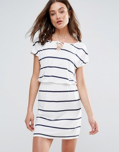Платье в полоску с затягивающимся шнурком Only You Kayla - Белый