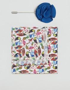 Платок для нагрудного кармана с птицами Gianni Feraud Liberty - Кремовый
