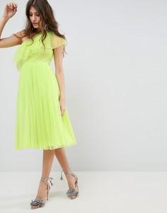 Платье миди на одно плечо из тюля ASOS - Зеленый