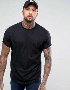 Черная oversize-футболка удлиненного кроя с отворотами на рукавах ASOS - Черный