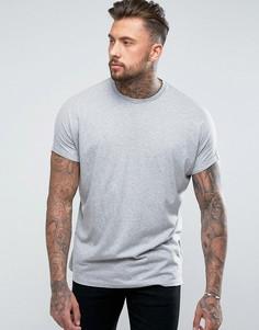 Серая меланжевая oversize-футболка удлиненного кроя с отворотами на рукавах ASOS - Серый