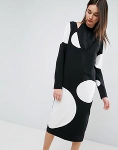 Двухслойное трикотажное платье миди ASOS WHITE - Черный
