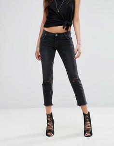Укороченные джинсы с классической талией и необработанным нижним краем One Teaspoon Freebird - Черный