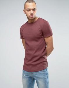 Красная удлиненная облегающая футболка из плотного вафельного трикотажа с асимметричным краем ASOS - Красный
