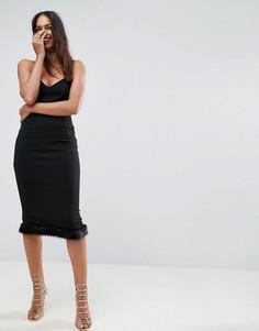 Платье бандо миди с меховой отделкой на подоле ASOS - Черный