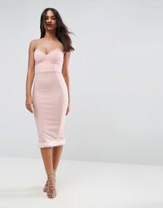 Платье бандо миди с меховой отделкой на подоле ASOS - Розовый