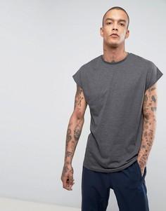 Удлиненная темно-серая меланжевая oversize-футболка ASOS - Серый