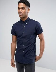 Узкая рубашка с короткими рукавами Jack & Jones Premium - Темно-синий