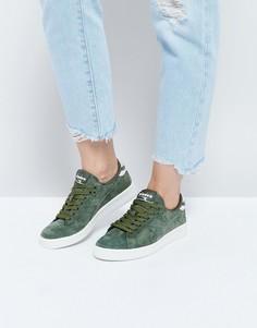 Низкие замшевые кроссовки цвета хаки Diadora Game - Зеленый