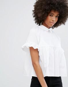 Рубашка с баской и оборками Only - Белый