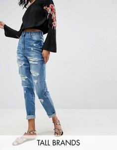 Рваные джинсы с завышенной талией Parisian Tall - Синий