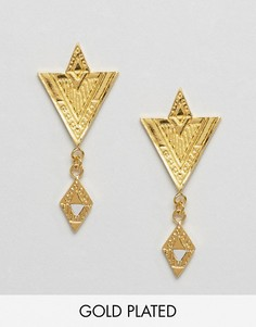 Позолоченные серьги с подвесками Gorjana Shae - Золотой