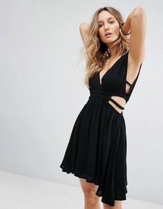 Платье из жатой ткани с двойными бретельками Surf Gypsy - Черный