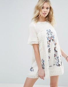 Платье с вышивкой Free People - Кремовый