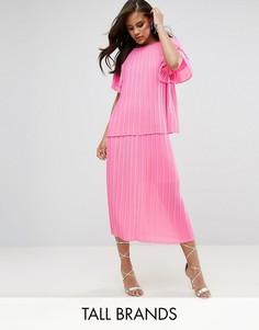 Плиссированная юбка миди Y.A.S Tall - Розовый