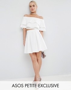 Мини-юбка со складками ASOS PETITE - Белый