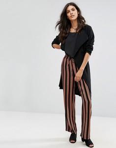 Широкие брюки в полоску Pieces Libby - Коричневый