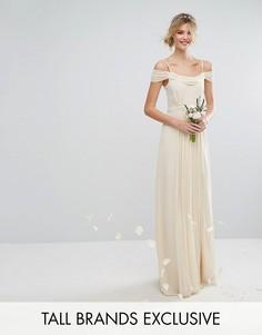 Платье макси с открытыми плечами и отделкой TFNC Tall Wedding - Кремовый