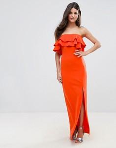 Платье-бандо макси с оборками и асимметричным разрезом Club L - Красный