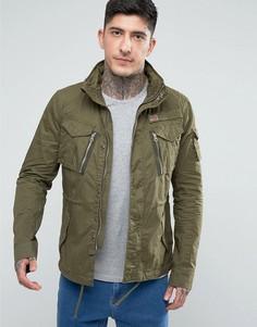 Куртка в стиле милитари цвета хаки со складывающимся капюшоном Schott Squad - Зеленый