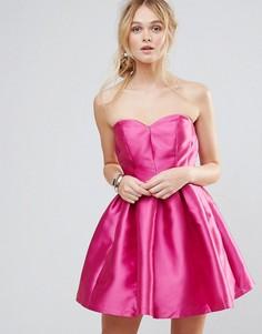 Структурированное платье-бандо мини Chi Chi London - Розовый